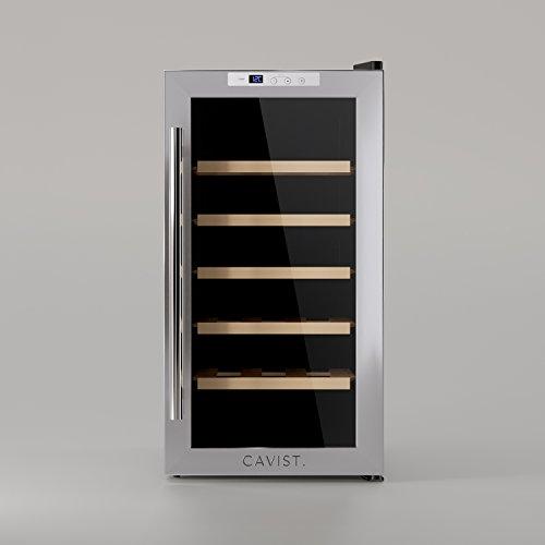 WineCellar wijnkoelkast, 18 flessen, vershoudflessen, CAVIST18, 52 l, vrijstaand, klein, professioneel, roestvrij staal, koelkast, elektrisch, multi-temperatuur, 5 °C tot 22 °C, stil, glazen deuren