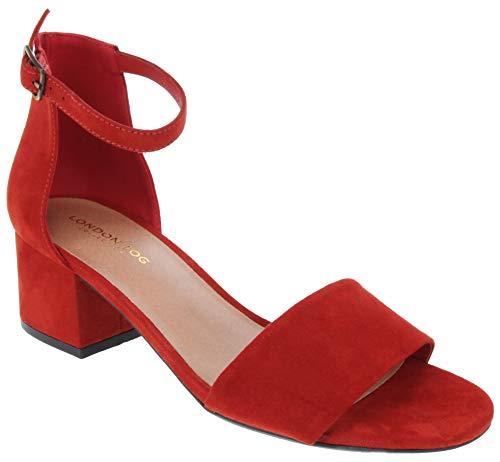 LONDON FOG Women's Nikki Low Two Piece Block Heel Dress Shoe Ladies Ankle Strap Pump Sandal Rust 9