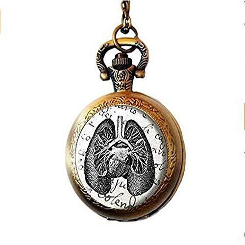 xinzhahi Taschenuhr, Antik-Lungen-Diagramm, Halskette, Lungen, Geschenk für jeden Tag