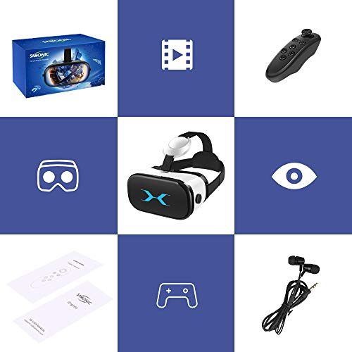 SAMONIC3DVRゴーグルVRヘッドセットiPhoneAndroidスマホ対応「イヤホン、Bluetoothコントローラ、日本語説明書付属」