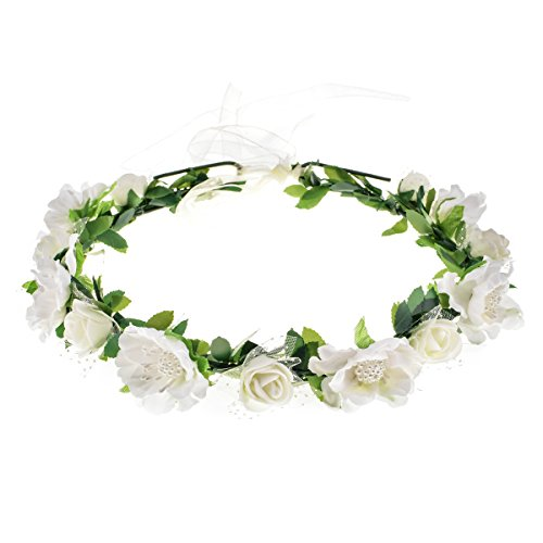 Love Sweety Girls Boho Rose Floral Crown Wreath Wedding Flower Headband Headpiece (White)