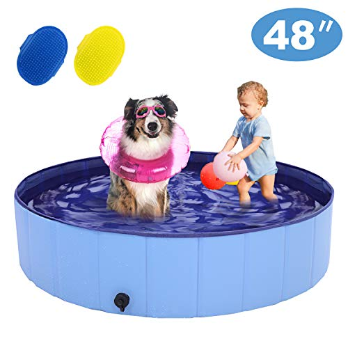 """RQN 48"""" Foldable Dog Pool for Outdoor Backyard,Portable Pet Pool for Kid Baby Pet Dog Cat with Two Brushes"""