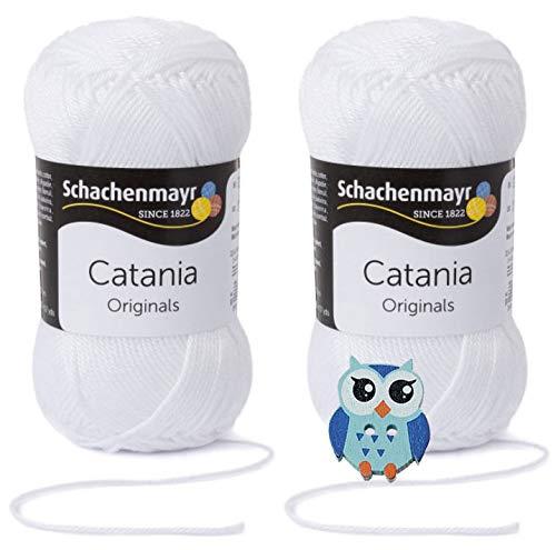 Schachenmayr Catania Wolle 2x50 Gr, 100% Baumwolle + 1 Eulen Knopf(106 Weiß)
