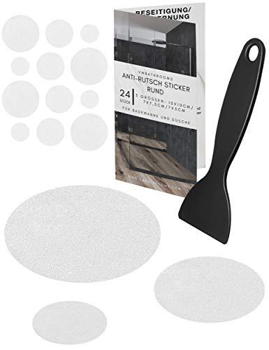 VMbathrooms Anti-Rutsch Aufkleber für die Badewanne - Transparente rutschfeste Pads - Selbstklebende Badewannen Sticker - [24] Runde Duscheinlagen + Gratis E-Book