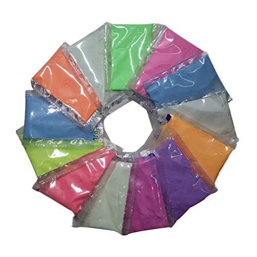 SUPVOX Poudre lumineuse brillante dans l'obscurité (ensemble de 8 paquets) non toxique et sans danger, pour slime, ongles, festivals de musique EDM, résine, concerts