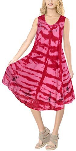 LA LEELA 3 in 1 weicher Kunstseide Tunika Damen Krawatte gestickt kurzen Strand Prom Kleid beiläufige Badebekleidung Lounge verschleiern Tunika Bademoden ärmel Plus Größe Frauen färben Rosa