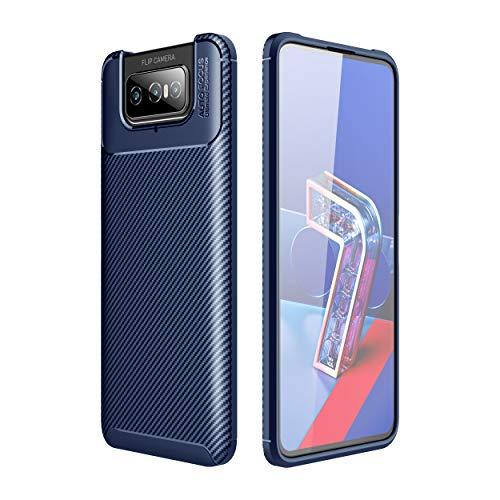 FanTing Cover per ASUS Zenfone 7 ZS670KS, Custodia Protezione in Morbida Silicone TPU, durevol, Anti Shock, Custodia per ASUS Zenfone 7 ZS670KS -Blu Scuro