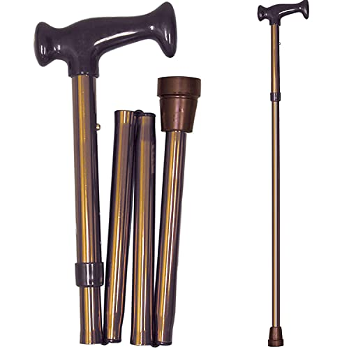 DMI Adjustable Folding Cane with Ergonomic Handle, Lightweight, Sturdy and Support up to 250 pounds, Great for Travel, Walking Stick, Bronze