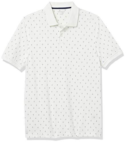 Amazon Essentials Slim-Fit Cotton Pique Polo Shirt Shirts, Ancla Azul Marino/Blanco, S