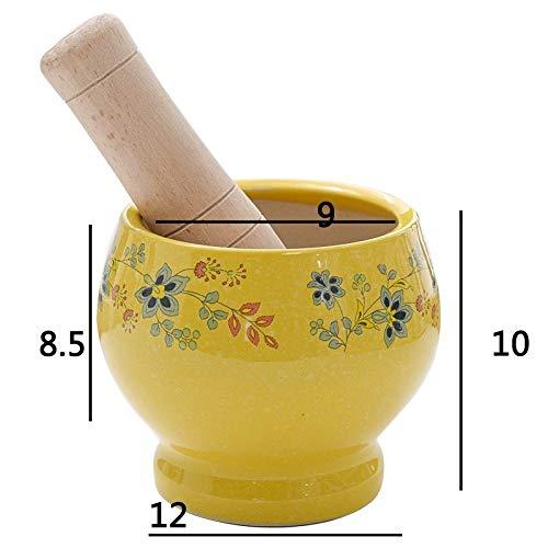 WATERMELON Kochen Stößel und Mörser Set Keramik Blumen-Muster-Grinder mit Buch Mallet (Color : Yellow)