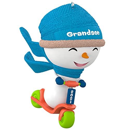 Hallmark Keepsake Christmas Ornament, Year Dated 2021, Grandson Snowman on Scooter