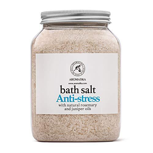 Badesalz AntiStress 1300g - Meersalz mit 100% Natürlichem Ätherischen Rosmarin öl und Wacholderöl - Besten für Guten Schlaf - Baden - Körperpflege - Wellness - Entspannung - Badezusatz Rosmarinöl
