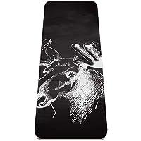 ヨガマット 手描きの羊の頭 あらゆるタイプのヨガ、ピラティス、フロアワークアウト用の極厚の滑り止めエクササイズ&フィットネスマット