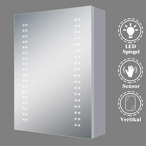 AicaSanitär Spiegelschrank mit Beleuchtung 50×70cm Infrarot-Sensor Schalter Aluminium Kaltweiß Badezimmer Spiegelschrank