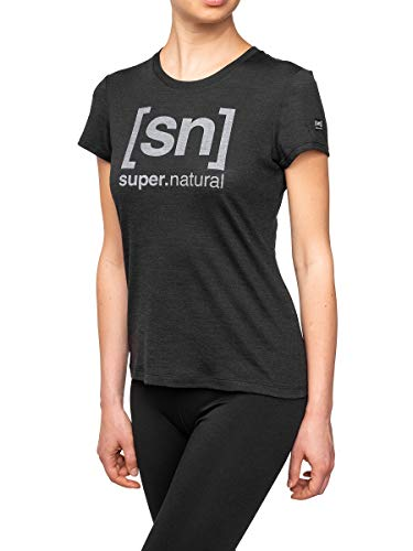 super.natural Tee-shirt Imprimé Manches Courtes pour Femmes, Laine mérinos, W ESSENTIAL I.D TEE, Taille: S, Couleur: Noir chiné/Gris