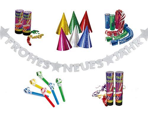 KarnevalsTeufel Party-Set für Silvester, Dekoration | Frohes Neues Jahr Girlande, Luftschlangen-Kanonen, Partyhüte, Partytröten, Luftschlangen | bunt