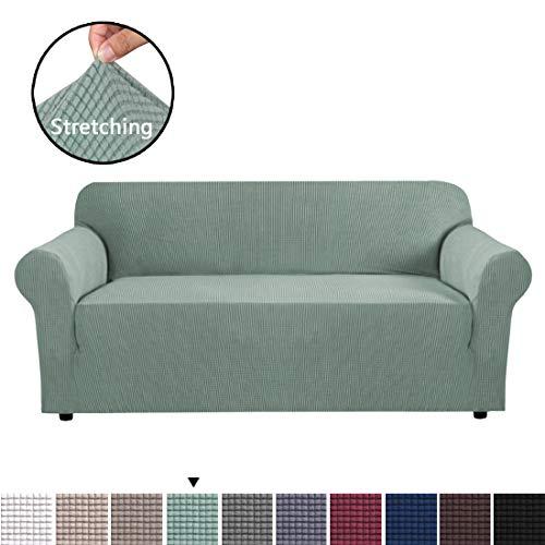 BellaHills Dicke 3 Sitzer Sofabezüge für 2-Kissen-Couch Stilvolle Muster-Sofabezüge für Sofa Stretch Jacquard Sofa Schonbezug für Wohnzimmer Hund Haustier Möbelschutz (3 Sitzer, Salbei)