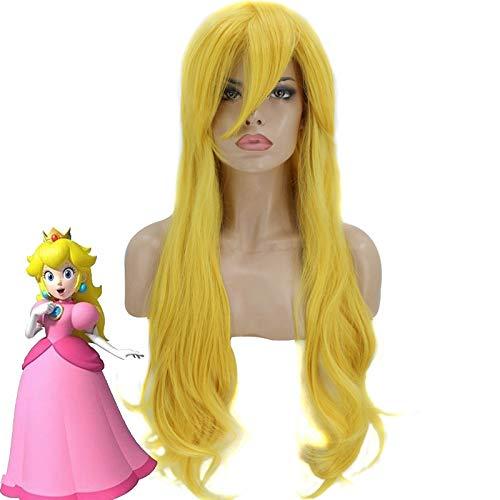 Hermanos princesa Peach Cosplay peluca dorada larga ondulada resistente al calor pelucas de pelo sintético + gorro de peluca