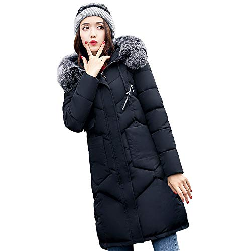 JERFER Cotton Padded Jackets Women Outerwear Fur Hooded Coat Long Pocket Coats