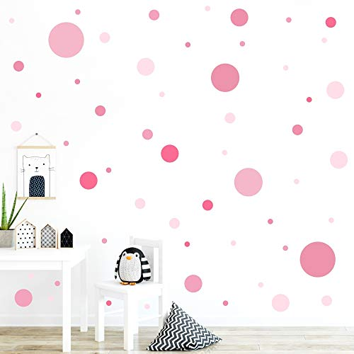 malango® 78 Wandsticker in vielen verschiedenen Farbkombinationen Punkte Kinderzimmer Wandtattoo Kreise Set selbstklebend Kids rosa-pink-Altrosa