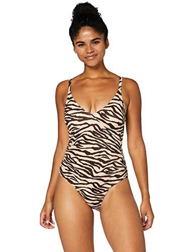 Marca Amazon - IRIS & LILLY Bañador Moldeador Mujer, Multicolor (Zebra)., XL, Label: XL