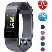 Letsfit Fitness Armband Farbbildschirm mit Pulsmesser, Fitness Tracker IP68 Wasserdicht 0,96 Zoll Aktivitätstracker Schrittzähler Pulsuhren Smart Watch für Herren Damen MEHRWEG GY