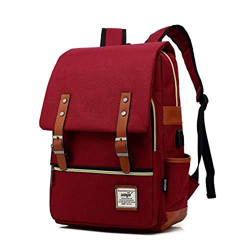 Vintage Backpack For Teen Girls Boys, Unisex Laptop Bag for Women Men, School College Bookbag Backpack With USB Charging Port (1-(Red USB))