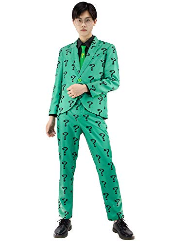 C-ZOFEK The Riddler Cosplay Costume Mens Green Suit with Shirt Tie (X-Large)