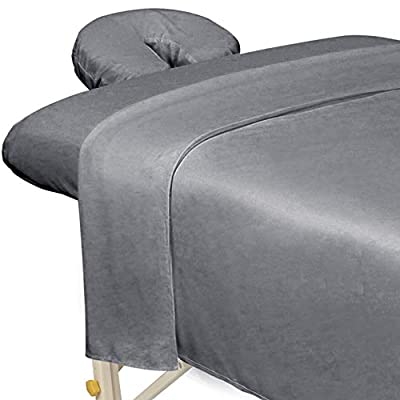 ForPro Premium Microfiber 3-Piece Massage Sheet Set, Cool Grey, Ultra-Light, Stain and Wrinkle-Resistant, Includes Massage Flat Sheet, Massage Fitted Sheet, and Massage Face Rest Cover