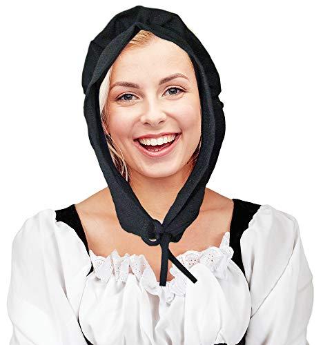 Das Kostümland Mittelalter Magd Haube Marktfrau Schwarz