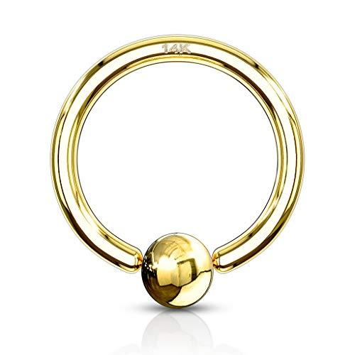 Paula & Fritz® Brustwarzen-Piercing Captive Bead Ring Klemm-Kugel Echt-Gold 14 Karat Gelb-Gold Weiß-Gold viele Größen