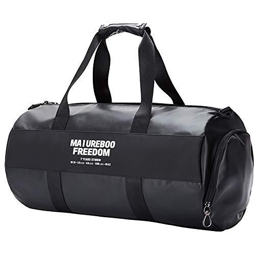 BAACD bolsa de viaje bolsa de viaje para hombres mujeres bolsa de equipaje negra fin de semana cuero artificial impermeable bolsa de hombro ligera cumpleaños de los hombres regalo de Navidad-black