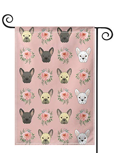 PRUNUS French Bulldog Flowers Florals Frenchies Dog Garden Flag, Vertical Double Sided Premium Material Holiday Weather Resistant Decorative Lawn Animal House Flags Outdoor Decor 12.5' x 18' Black