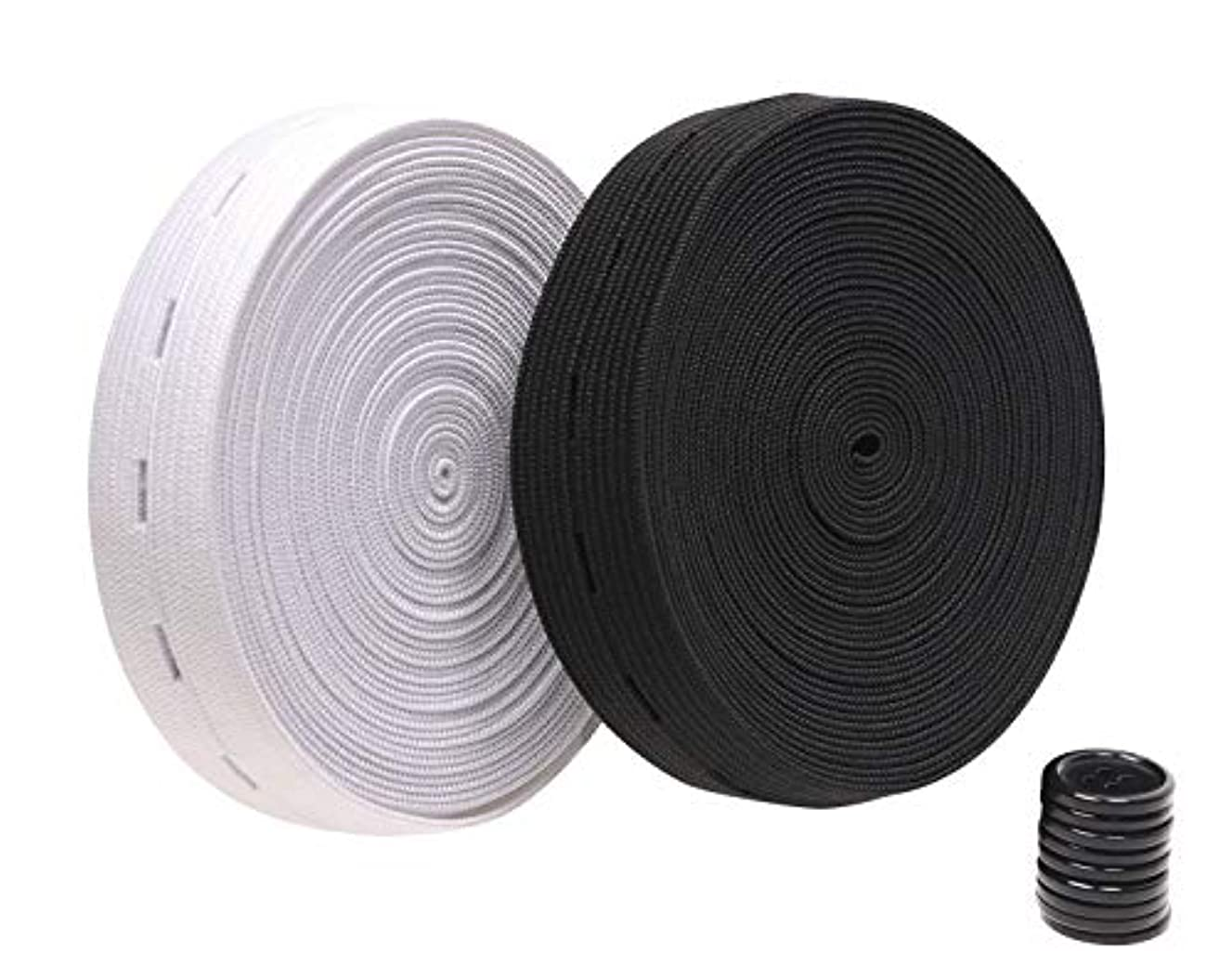 Penta Angel 2 Colors Elastic Sewing Bands 11 Yards 1 Inch Flatback Black and White Sewing Bands Spool with Buttonhole, Knit Stretch Cord Belt with 10Pcs 18mm Black Resin Button