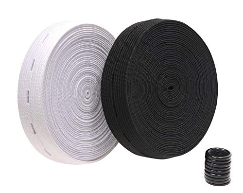 Penta Angel 11Yards Buttonhole Elastic Sewing Bands Spool Black & White Adjustable Expanders Knit Stretch Belt with 10pcs Black Resin Button for Women Men Jeans Pants (1')