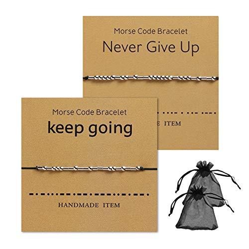 Pulsera Código Morse Seguir Adelante y Nunca Darse por Vencido, Mejor Amigo, Pareja, Cuentas de Código Morse para Hombres y Mujeres, 2 Piezas