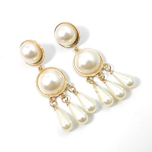 YZYZ Pendientes colgantes de gota de agua de perlas sintéticas, estilo retro, para mujer, accesorios