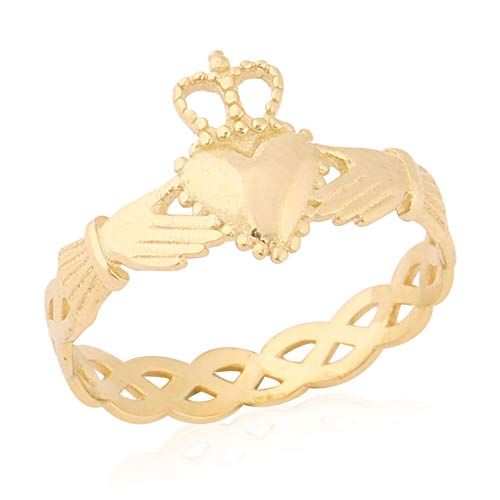 TJC 9ct Yellow Gold Claddagh Ring for Women Gift for Wife/Girlfriend Size L in Glossy Finish