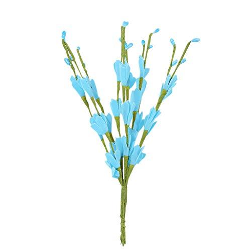 Xshuai® Fleurs artificielles en soie Eucalyptus vertes Fleurs de mariage Décoration de jardin Fête Anniversaire Saint Valentin Jardin Maison Total length:Appr.51cm Sky bule