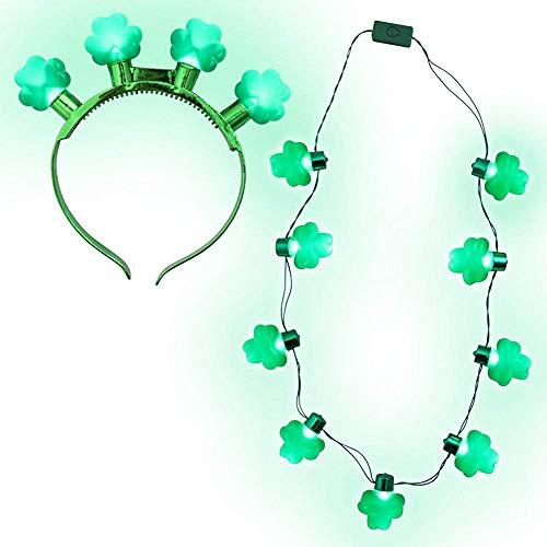 Light Up St. Patrick's Day Shamrock Headband and Necklace Set