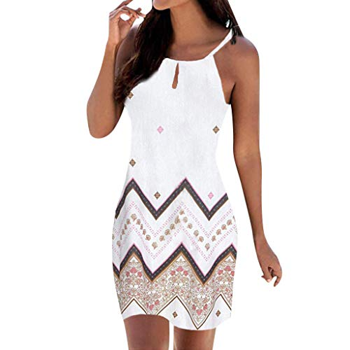 Dresses for Women Party Wedding,UOKNICE Plus Size Women Halter Neck Boho Print Sleeveless Casual Mini Beachwear Dress Sundress