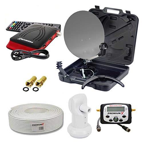 PremiumX Camping Sat-Anlage HDTV 35cm Schüssel im Koffer HD TV Receiver Sat-Finder Single LNB 10m Koaxial-Kabel F-Stecker