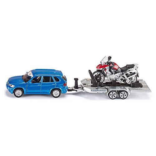 SIKU 376895 2547, PKW mit Anhänger und Motorrad, 1:55, Metall/Kunststoff, Blau/Rot, Kippbare Ladefläche