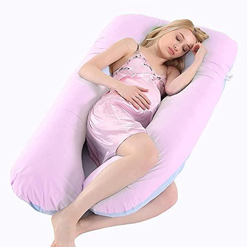 Yvelife Almohada de Embarazo, Incluye Funda de Almohada de algodón, Almohadas de Maternidad para Mujeres Embarazadas con Forma de U, Funda de Almohada Desmontable y Lavable -Rosa