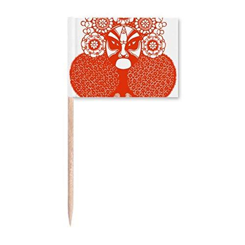 Roter Kopf Papierschnitt Peking Opera Muster Zahnstocher Flaggen Marker Topper Party Dekoration