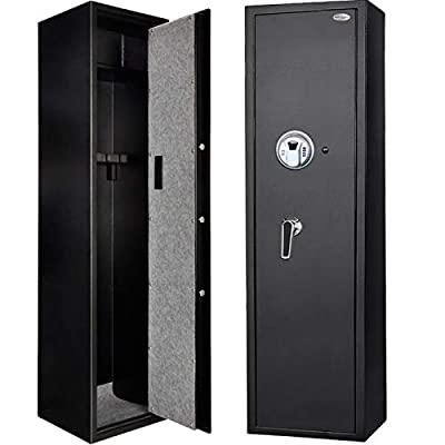 Langger Biometric Rifle Gun Safe, Shotgun Quick Access, 5-Gun Large Rifle Gun Security Cabinet for Rifle Shotgun Firearms w/o Optics/Scopes with Pistol/Handgun Lock Box