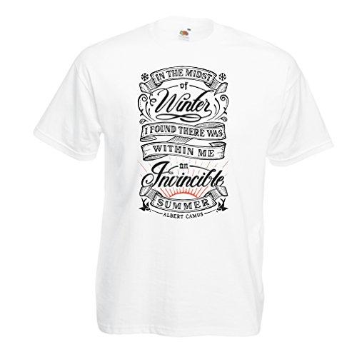 lepni.me Camisetas Hombre En pleno Invierno encontré un Verano invencible, Citas Famosas (Large Blanco Multicolor)