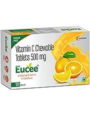 Eucee Vitamin C - Sugar Free Chewable Tablets in Tasty Orange Flavor - Stomach Friendly Vegan Formula Promotes Immunity - Skin - Gumcare, For kids Men Women - 120 Servings (Orange,Pack of 1)