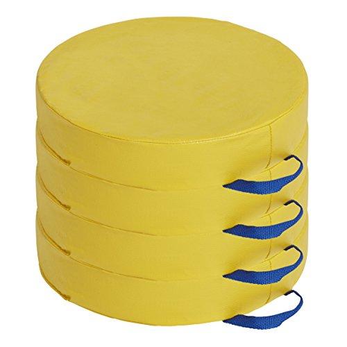 ECR4Kids Softzone Carry Me Vloerkussen voor flexibel zitten in de klaslokalen, 7,6 cm diameter, Deluxe-schuim, rond, verschillende kleuren (4-delige set) Zonder wagen. 4-Piece Round geel