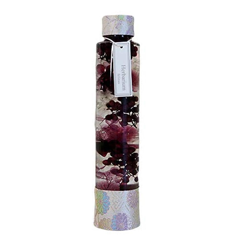 スロー石化する記念日フェリナス ハーバリウム 丸瓶 円柱 ロングボトル パープル(1本) 西陣織リボン プリザーブドフラワー ドライフラワー 日本製 花 ギフト プレゼント クリスマス 女性 nishi-purple
